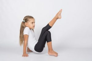 young girl leg training