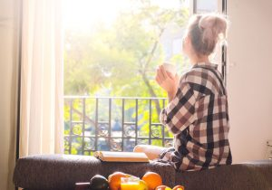 woman sitting peacefully