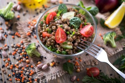 Lentil salad with veggies