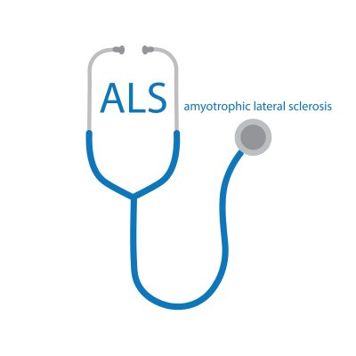 ALS Amyotrophic Lateral Sclerosis Text And Stethoscope Icon Vec