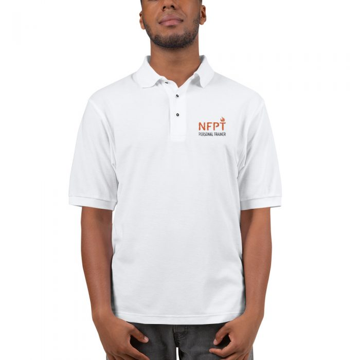 NFPT Polo Orange Black For Light Shirts Mockup Front Mens White