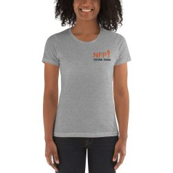 NFPT Polo Orange Black For Light Shirts Mockup Front Womens Heather Grey