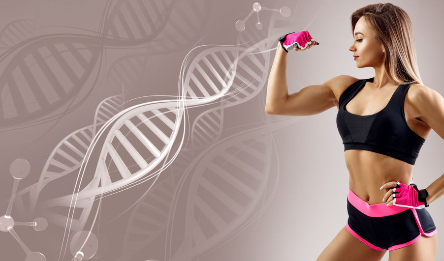 Athletic Fitness Woman Standing Among DNA Chains.