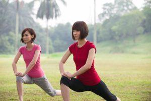 Asian Girls Streching Outdoor