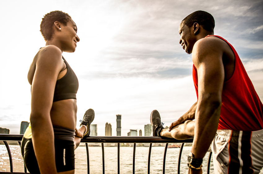 African American Couple Making Sport In New York City