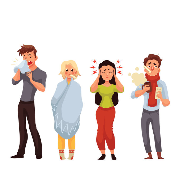 Set Of Sick People Cartoon Style Vector Illustration
