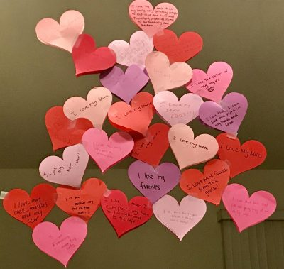 Cut out hearts with affirmations
